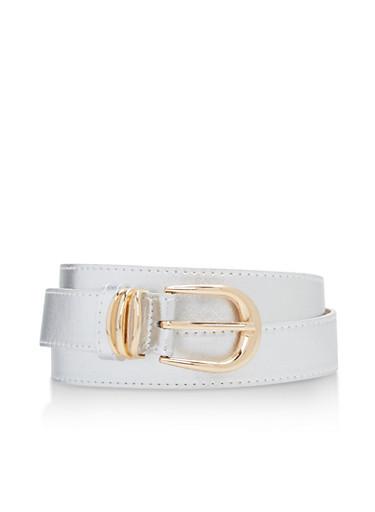 Faux Saffiano Leather Belt,BLACK/GOLD,large