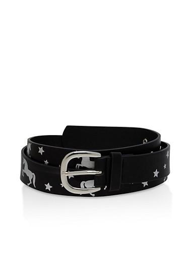 Plus Size Unicorn Print Belt,BLACK,large