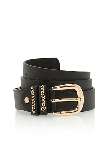 Plus Size Double Loop Metallic Belt with Chain Accent,BLACK,large