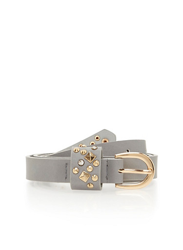 Faux Leather Belt with Studded Details,GRAY/SILVER,large