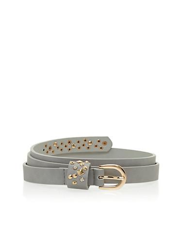 Plus Size Studded Belt,GRAY/SILVER,large