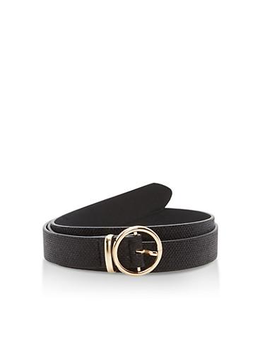 Faux Leather Round Metallic Buckle Belt,SHINY BLACK/GOLD,large