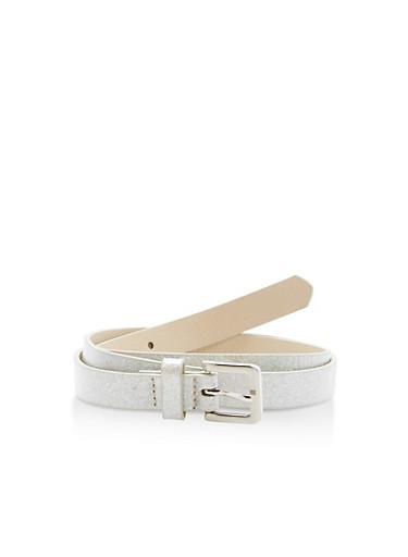 Glitter Faux Leather Skinny Belt,SILVER,large