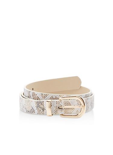 Metallic Snakeskin Faux Leather Belt,WHITE/GOLD,large
