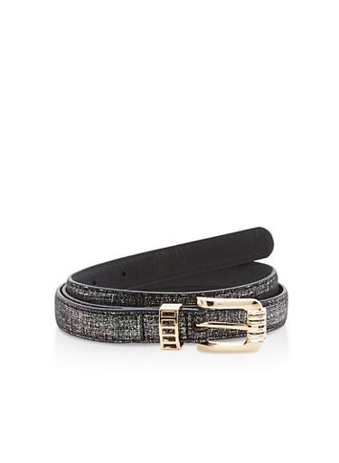 Glitter Faux Leather Skinny Belt,BLACK/GLITTER,large