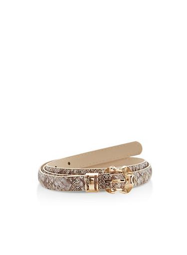 Metallic Snakeskin Faux Leather Skinny Belt,TAUPE/GOLD,large