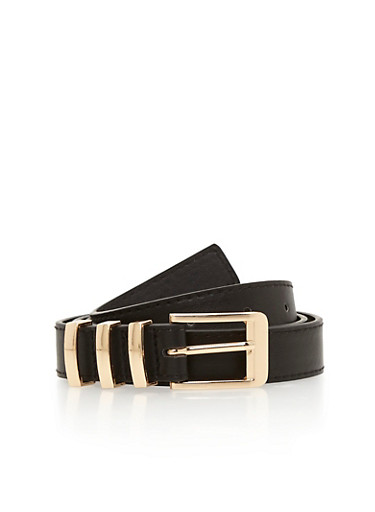 Triple Metal Loop Faux Leather Belt,BLACK,large