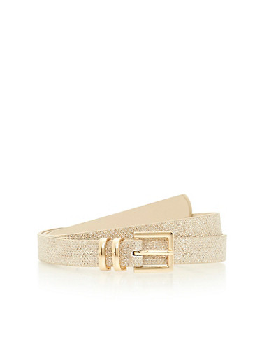 Glitter Faux Leather Belt,GOLD,large