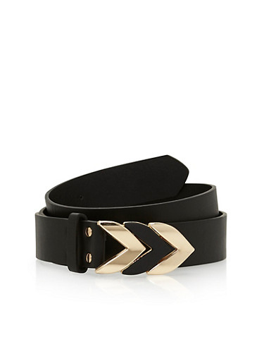 Plus Size Arrow Buckle Faux Leather Belt,BLACK,large