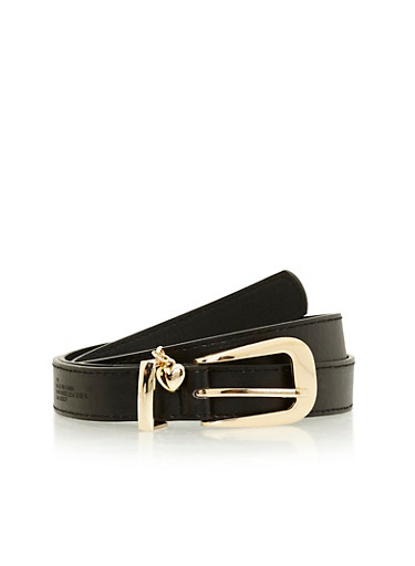 Faux Leather Belt with Heart Charm,BLACK,large