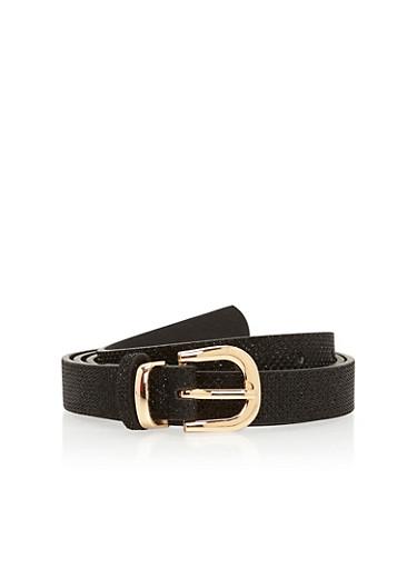 Skinny Glitter Belt,BLACK,large