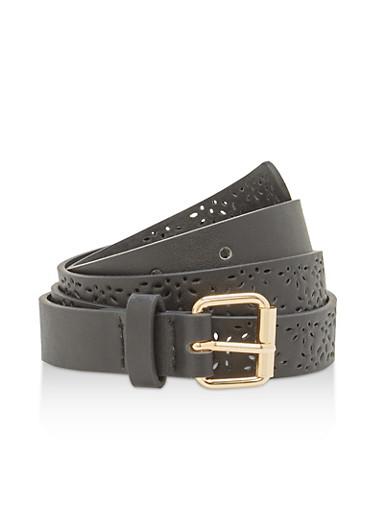 Laser Cut Faux Leather Skinny Belt,BLACK,large
