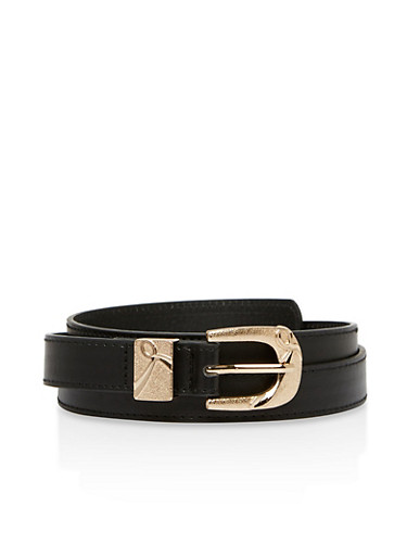 Metallic Buckle Faux Leather Skinny Belt,BLACK,large