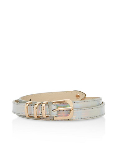 Holographic Metallic Accent Skinny Belt,SILVER,large