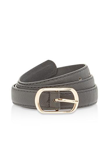 Textured Faux Leather Skinny Belt,BLACK,large