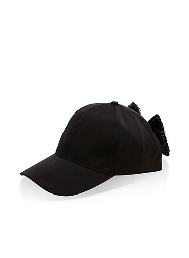 Sequin Bow Baseball Hat,BLACK,large
