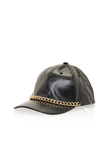 Faux Leather Baseball Hat with Chainlink Trim,BLACK/GOLD,large