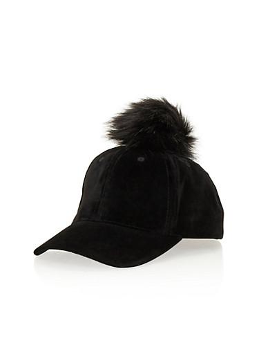 Velvet Baseball Hat with Faux Fur Pom Pom,BLACK,large