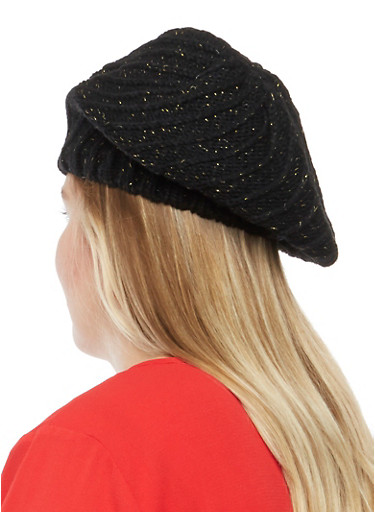 Knit Beret Hat with Metallic Threading,BLACK,large