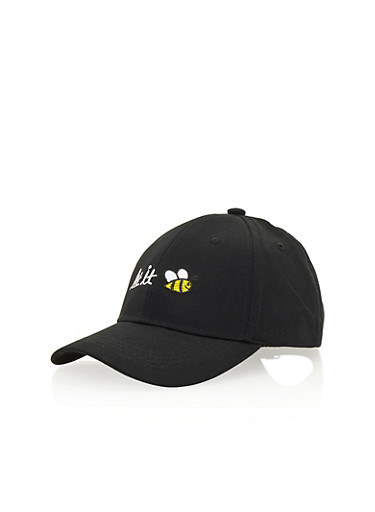 Baseball Hat with Let It Bee Embroidery,BLACK/WHITE,large