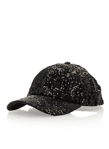 Sequin Baseball Hat,BLACK,large