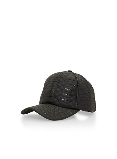 Quilted Baseball Cap with Sequin Detail,BLACK,large