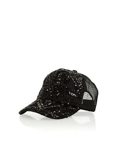 Sequin Trucker Hat,BLACK,large