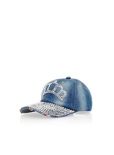 Denim Baseball Cap with Rhinestone Crown Detail,SILVER,large