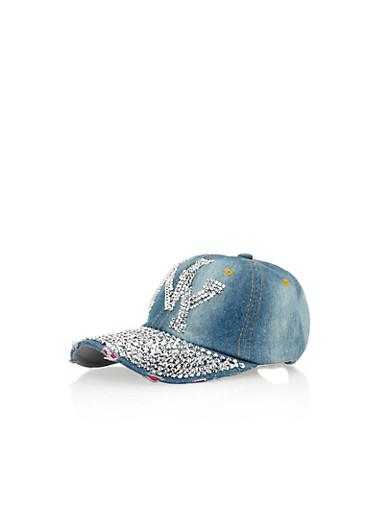 Rhinestone Studded Denim NY Baseball Cap,DENIM,large