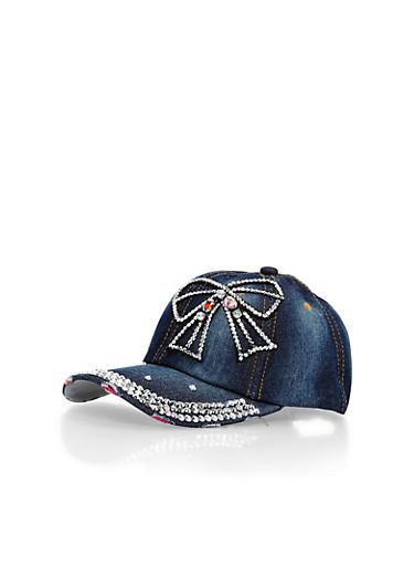 Denim Baseball Cap with Rhinestone Bow Detail,DENIM,large