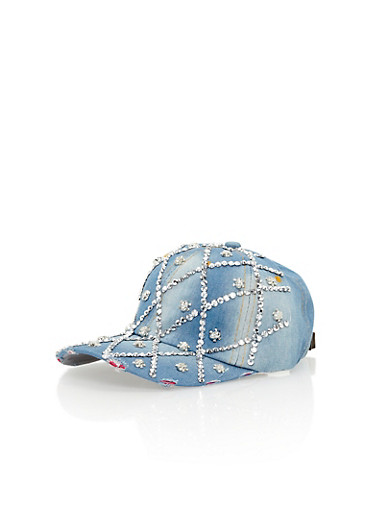 Rhinestone Studded Diamond Pattern Baseball Cap,DENIM,large