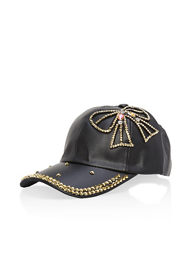 Studded Bow Faux Leather Baseball Hat,BLACK/GOLD,large