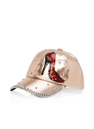 Sequin Graphic Rhinestone Studded Baseball Hat,ROSE GOLD/SILVER,large