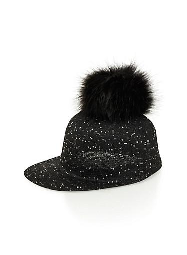 Sequin Hat with Faux Fur Pom Pom,BLACK,large