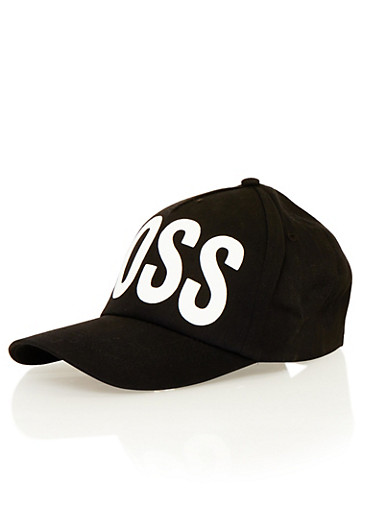 Snapback Hat with Boss Graphic,BLACK/WHITE,large