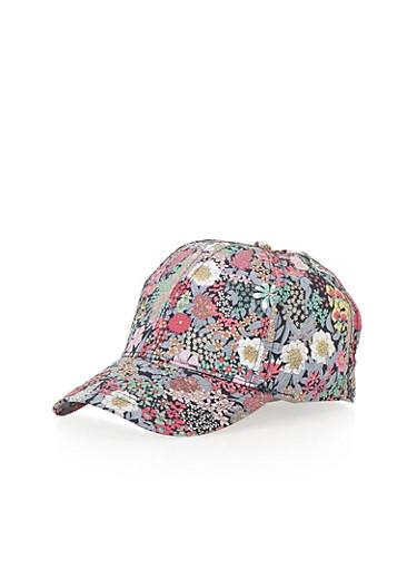 Vintage Floral Print Snapback Hat,GRAY,large