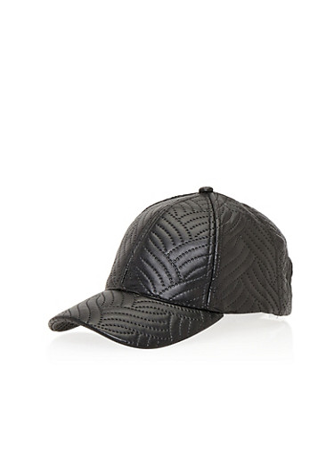 Faux Leather Snapback Hat with Stitched Design,BLACK,large