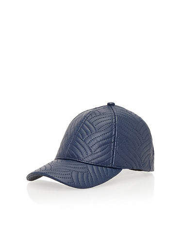 Faux Leather Snapback Hat with Stitched Design,NAVY                  299,large