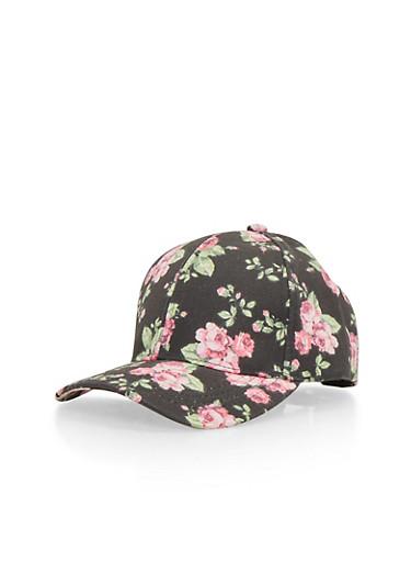 Floral Print Snapback Hat,BLACK,large