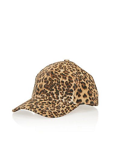Leopard Print Snapback Hat,BROWN,large