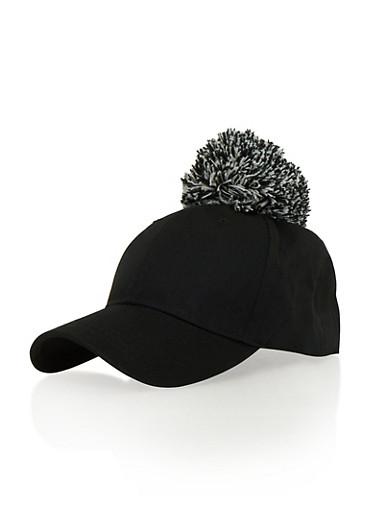Snapback Hat with Yarn Pom Pom,BLACK,large