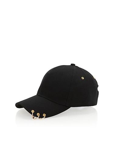 Pierced Snapback Hat,BLACK/GOLD,large