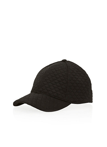 Quilted Baseball Cap with Snapback,BLACK,large