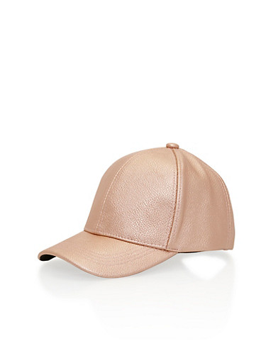 Embossed Metallic Faux Leather Baseball Cap with Snapback,ROSE,large