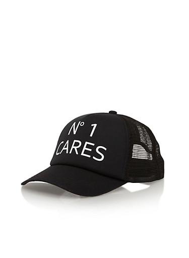 No 1 Cares Graphic Trucker Hat,BLACK,large