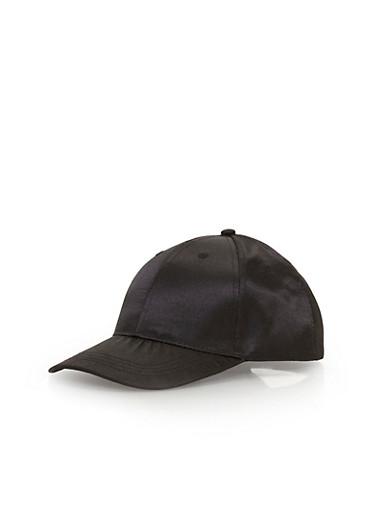 Satin Baseball Hat,BLACK,large