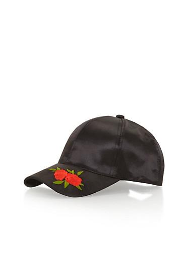 Satin Baseball Hat with Embroidered Floral Brim Detail,BLACK/RED FLOWER,large