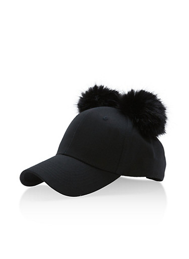 Pom Pom Ears Baseball Hat,BLACK,large