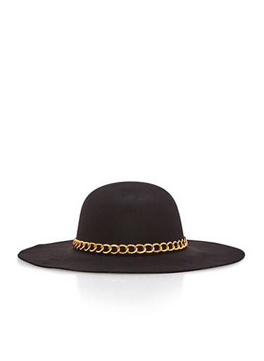 Chain Trim Wool Floppy Hat,BLACK,large