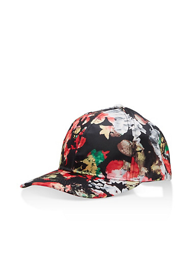 Floral Satin Baseball Hat,BLACK/RED,large